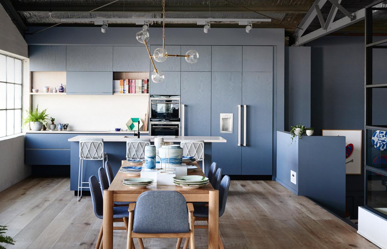 blue-kitchen-beautiful - the castle group - la & oc realtors